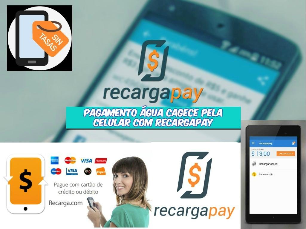 Pagamento Água CAGECE pela celular com Raecargapay