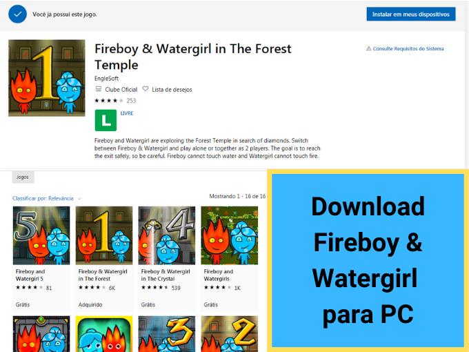 Descubra como fazer download gratis de Fireboy & Watergirl