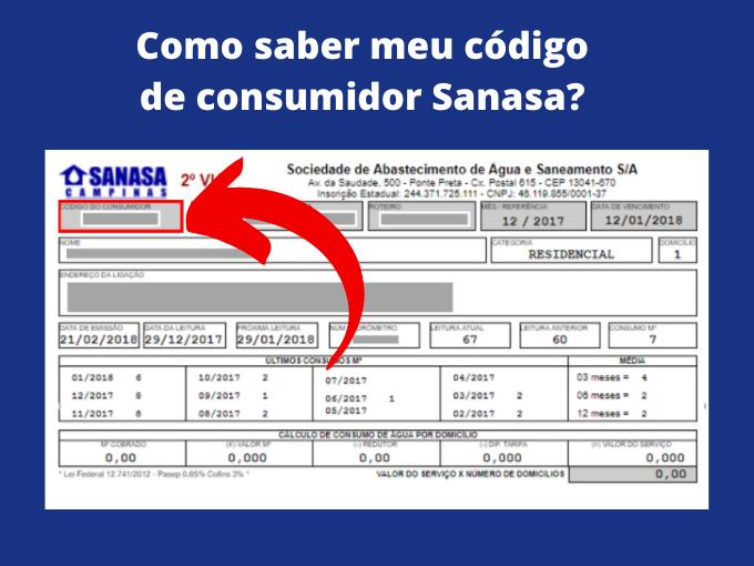 Como saber meu código de consumidor Sanasa_