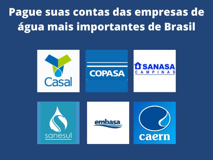 Pague suas contas das empresas de água mais importantes de Brasil